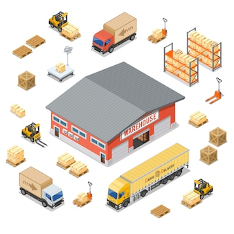 Conjunto de ícones isométrica de armazenamento e entrega de armazém