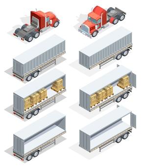 Conjunto de ícones isométrica de caminhão