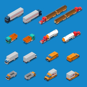 Conjunto de ícones isométrica de caminhões