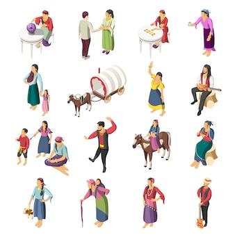Conjunto de ícones isométrica de ciganos