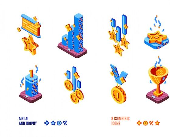 Conjunto de ícones isométrica de competição medalha e troféu