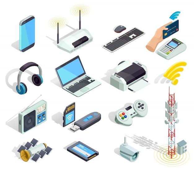 Conjunto de ícones isométrica de dispositivos de tecnologia sem fio