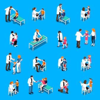 Conjunto de ícones isométrica de doenças de criança