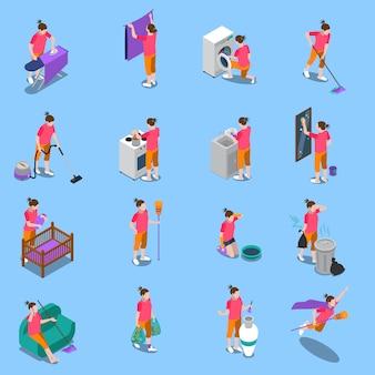 Conjunto de ícones isométrica de dona de casa