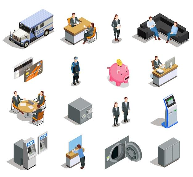 Conjunto de ícones isométrica de elementos do banco