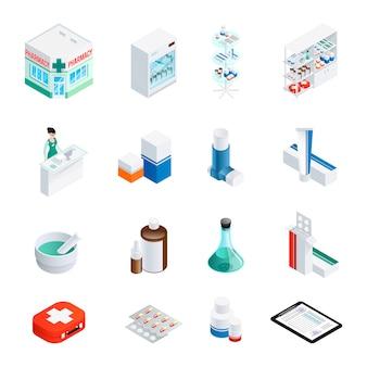 Conjunto de ícones isométrica de farmácia