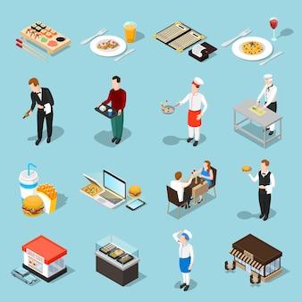 Conjunto de ícones isométrica de fast-food