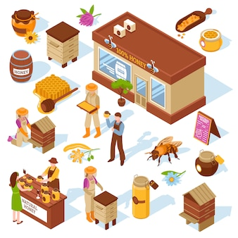Conjunto de ícones isométrica de fazenda de mel