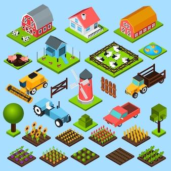 Conjunto de ícones isométrica de fazenda