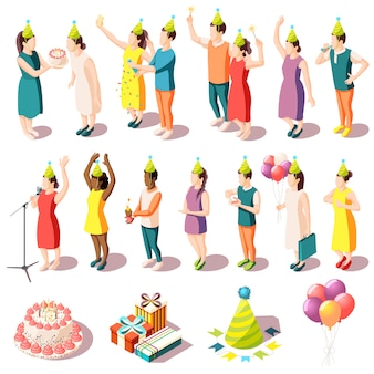 Conjunto de ícones isométrica de festa de aniversário de pessoas em trajes festivos e ilustração isolada de suprimentos de festa