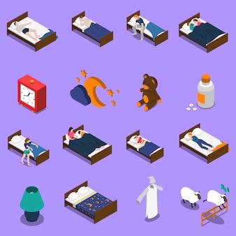Conjunto de ícones isométrica de hora de dormir