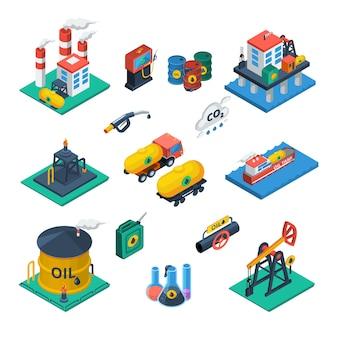 Conjunto de ícones isométrica de indústria de petróleo