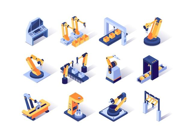 Conjunto de ícones isométrica de indústria de robotização.
