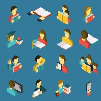 Conjunto de ícones isométrica de leitura de educação