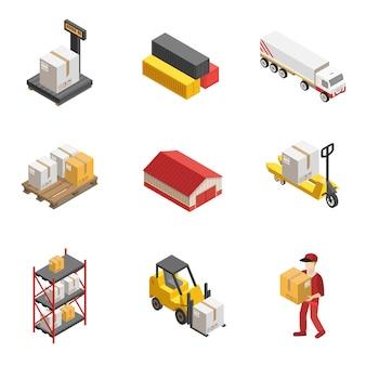 Conjunto de ícones isométrica de logística de estoque