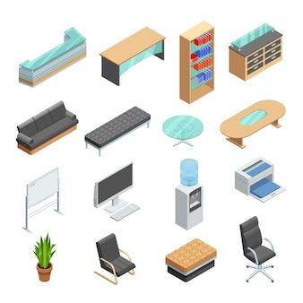 Conjunto de ícones isométrica de mobiliário de escritório