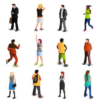 Conjunto de ícones isométrica de pessoas