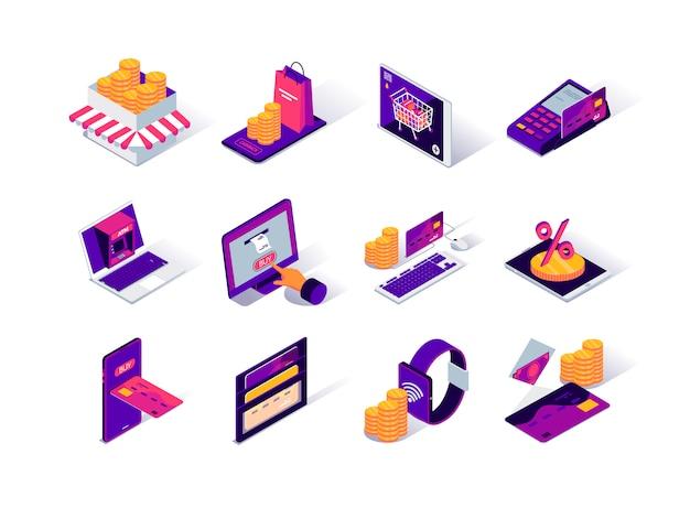 Conjunto de ícones isométrica de plataforma de comércio eletrônico.