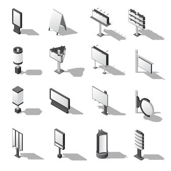 Conjunto de ícones isométrica de publicidade de rua