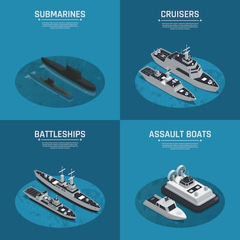 Conjunto de ícones isométrica de quatro barcos militares quadrados