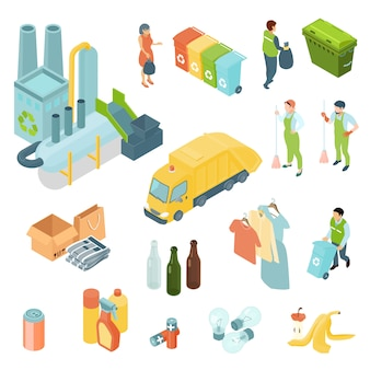 Conjunto de ícones isométrica de reciclagem de lixo