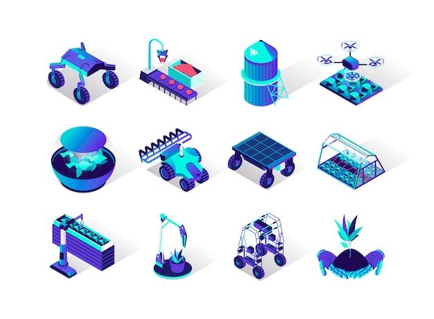 Conjunto de ícones isométrica de robotização de agricultura.