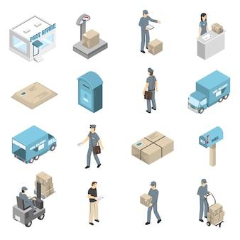 Conjunto de ícones isométrica de serviço de correios