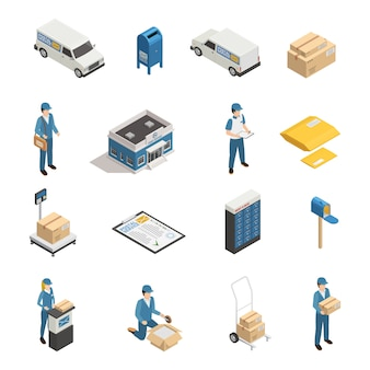 Conjunto de ícones isométrica de serviço postal