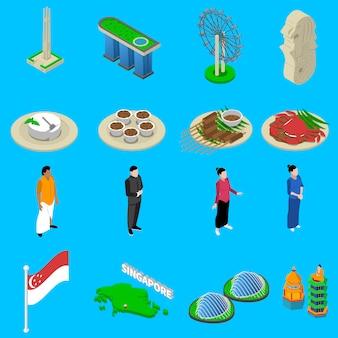 Conjunto de ícones isométrica de símbolos de viagens de singapura