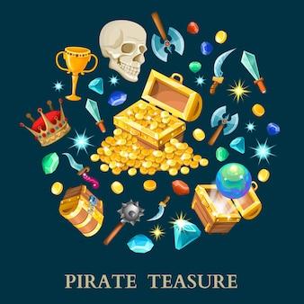 Conjunto de ícones isométrica de tesouro pirata