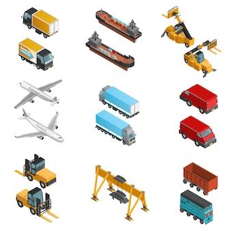 Conjunto de ícones isométrica de transporte de carga