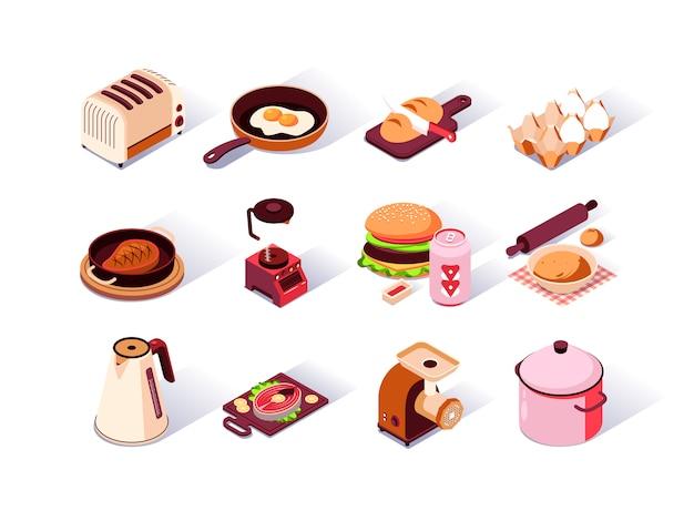 Conjunto de ícones isométrica de utensílios de cozinha.