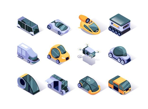 Conjunto de ícones isométrica de veículos autônomos.
