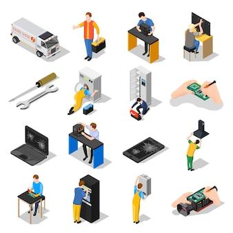 Conjunto de ícones isométrica do centro de serviço