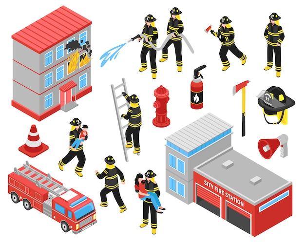 Conjunto de ícones isométrica do corpo de bombeiros
