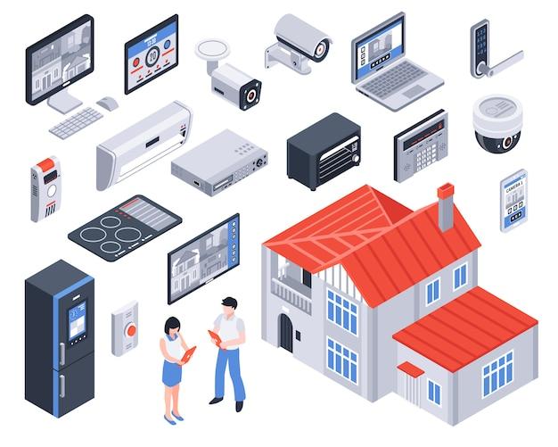 Conjunto de ícones isométrica smart home
