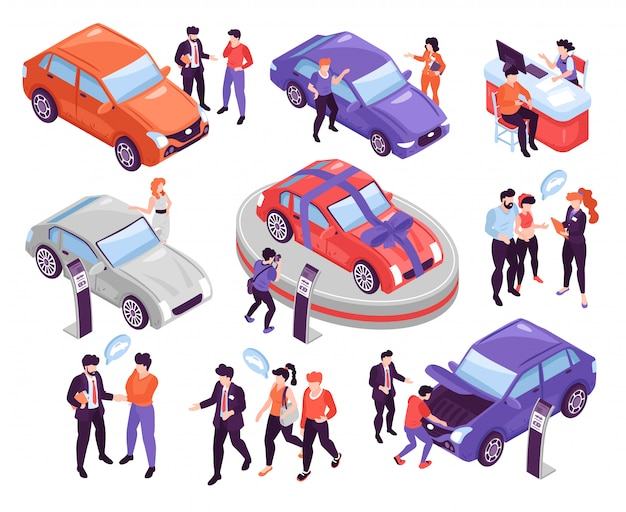 Conjunto de ícones isométricos com pessoas discutindo e escolhendo carros no show room isolado na ilustração 3d fundo branco