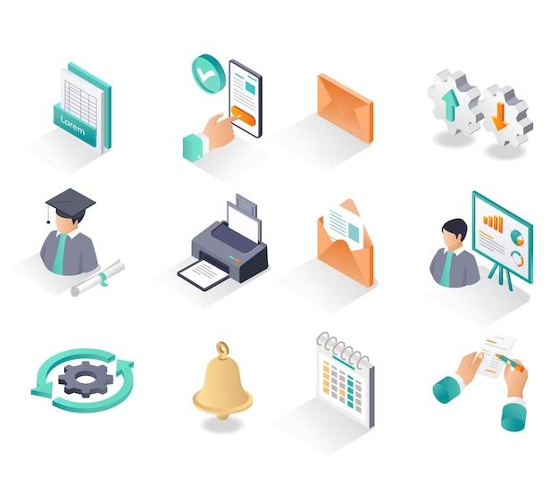 Conjunto de ícones isométricos, cursos, estudo de negócios e educação