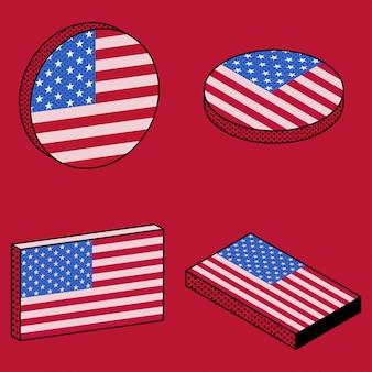 Conjunto de ícones isométricos da bandeira do eua em estilo retro