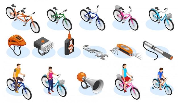 Conjunto de ícones isométricos de bicicleta com acessórios de ferramentas e diferentes tipos de bicicletas