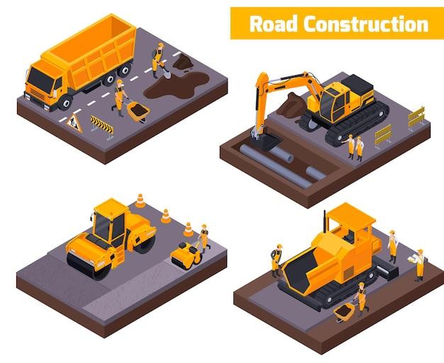 Conjunto de ícones isométricos de construção de estradas