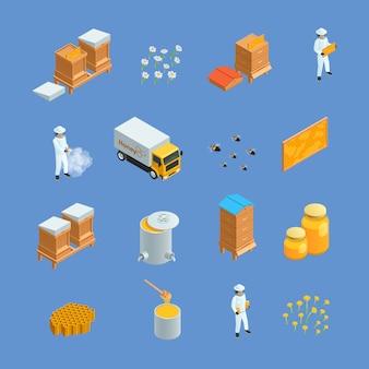 Conjunto de ícones isométricos de elementos de apiário de apicultura diferentes como apicultor de colméias isoladas de v