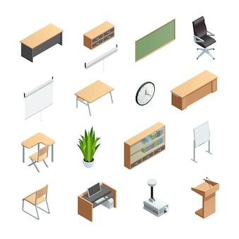 Conjunto de ícones isométricos de elementos interiores de sala de aula diferentes como equipamentos de mobiliário