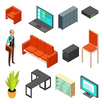 Conjunto de ícones isométricos de escritório