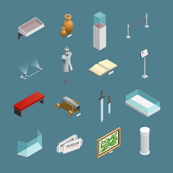 Conjunto de ícones isométricos de exposições do museu e elementos como vaso antigo ou isolado de placa informativa