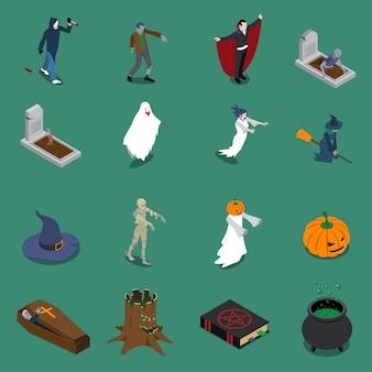 Conjunto de ícones isométricos de halloween de monstro