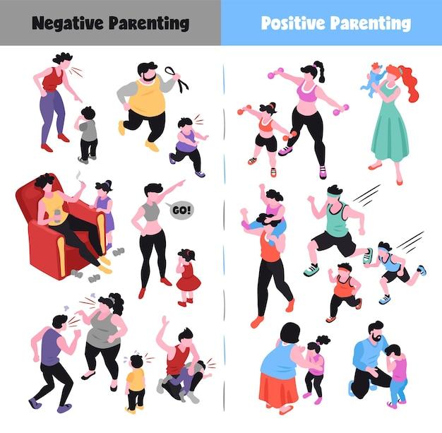 Conjunto de ícones isométricos de parentalidade representando maneiras positivas e negativas de criar filhos. ilustração 3d isolada