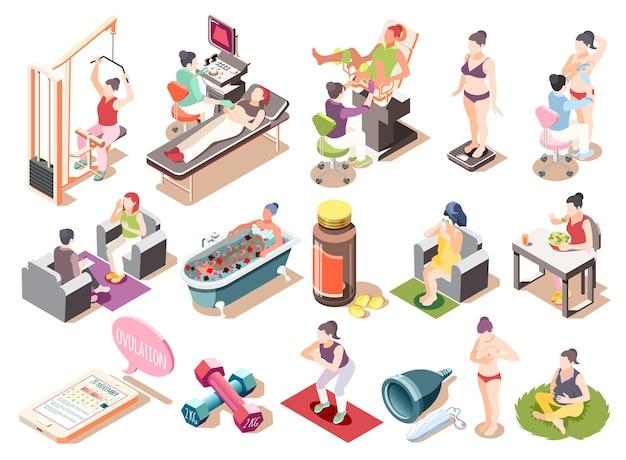 Conjunto de ícones isométricos de saúde feminina