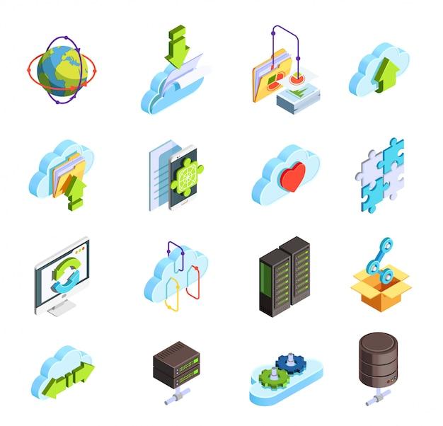 Conjunto de ícones isométricos de serviço em nuvem