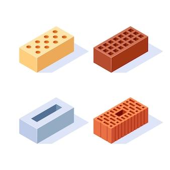 Conjunto de ícones isométricos de tijolo